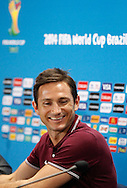 Frank Lampard of England during the England press conference the day before their final Group D match against Costa Rica at Mineirao, Belo Horizonte, Brazil. <br /> Picture by Andrew Tobin/Focus Images Ltd +44 7710 761829<br /> 23/06/2014