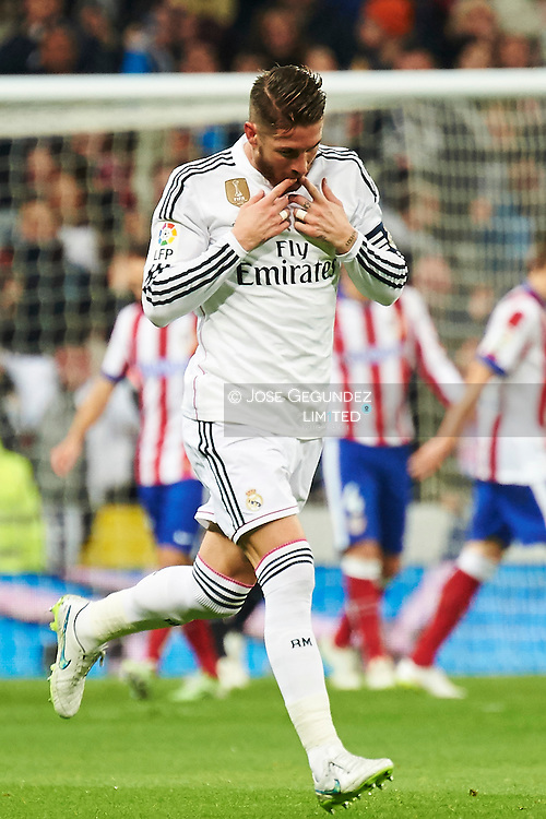 Sergio Ramos during the Copa del Rey, round of 8 match between Real Madrid and Atletico de Madrid at Estadio Santiago Bernabeu on January 15, 2015 in Madrid, Spain.