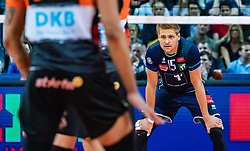 17.04.2019, Olympiahalle Innsbruck, Innsbruck, AUT, VBL, Deutsche Volleyball Bundesliga, HYPO Tirol Alpenvolleys Haching vs Berlin Recycling Volleys, Halbfinale, 3. Spiel, im Bild Niklas Kronthaler (Tirol) // during the German Volleyball Bundesliga (VBL) 3rd semifinal match between HYPO Tirol Alpenvolleys Haching and Berlin Recycling Volleys at the Olympiahalle Innsbruck in Innsbruck, Austria on 2019/04/17. EXPA Pictures © 2019, PhotoCredit: EXPA/ JFK