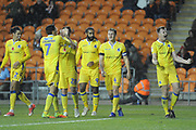 Bristol Rovers Defender, Tony Craig (5) scores to make it 0-2 goal celebration  during the EFL Sky Bet League 1 match between Blackpool and Bristol Rovers at Bloomfield Road, Blackpool, England on 3 November 2018.