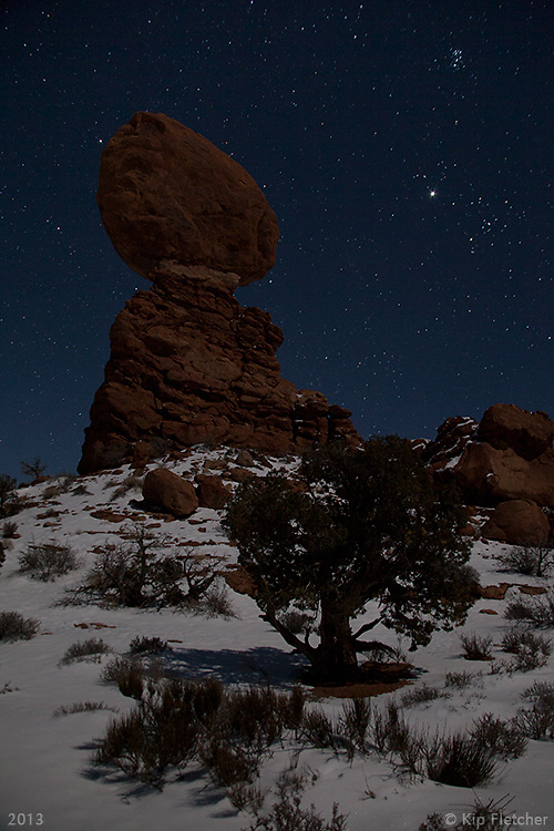 MoonShadow I. Balanced Rock, Arches National Park, Utah - 12/19/12.<br />
