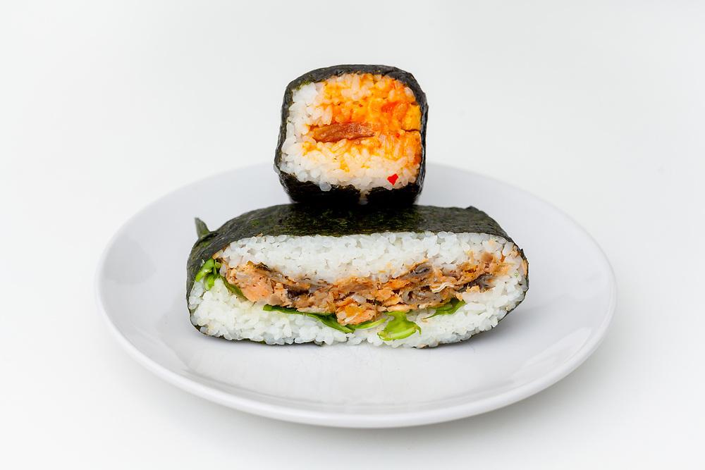 Salmon Skin & Spicy Spam Onigiri from Ennju ($6.26)