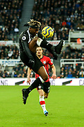Allan Saint-Maximin (#10) of Newcastle United controls the ball during the Premier League match between Newcastle United and Southampton at St. James's Park, Newcastle, England on 8 December 2019.