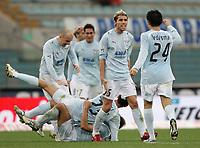 Fotball<br /> Italia<br /> Foto: Inside/Digitalsport<br /> NORWAY ONLY<br /> <br /> Valon Behrami celebrates with Cristian Ledesma and other teammates in the background after Siviglia scored 2-1 goal for SS Lazio<br /> <br /> 28 Feb 2007 (Match Day 26)<br /> Lazio v Catania (3-1)