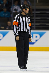 Dec 3, 2011; San Jose, CA, USA; NHL referee Chris Rooney (5) before the start of the the first period between the San Jose Sharks and the Florida Panthers at HP Pavilion. Florida defeated San Jose 5-3. Mandatory Credit: Jason O. Watson-US PRESSWIRE
