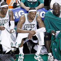 07 June 2012: Boston Celtics point guard Rajon Rondo (9), Boston Celtics small forward Paul Pierce (34) and Boston Celtics power forward Kevin Garnett (5) are seen on the bench during fourth quarter of Game 6 of the Eastern Conference Finals playoff series, Heat at Celtics at the TD Banknorth Garden, Boston, Massachusetts, USA.