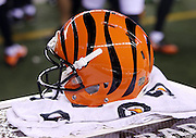 A Cincinnati Bengals helmet sits on a sideline trunk during the NFL AFC Wild Card playoff football game against the Pittsburgh Steelers on Saturday, Jan. 9, 2016 in Cincinnati. The Steelers won the game 18-16. (©Paul Anthony Spinelli)