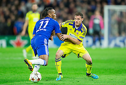 Didier Drogba of Chelsea vs Ales Mejac of Maribor during football match between Chelsea FC and NK Maribor, SLO in Group G of Group Stage of UEFA Champions League 2014/15, on October 21, 2014 in Stamford Bridge Stadium, London, Great Britain. Photo by Vid Ponikvar / Sportida.com