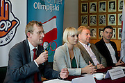 (L-R) Dariusz Buza and Krystyna Radkowska and Andrzej Supron and Marcin Zewlakow during press conference before National Day of Sport 2013 at Olympic Centre in Warsaw on October 17, 2013.<br /> <br /> Poland, Warsaw, October 17, 2013<br /> <br /> Picture also available in RAW (NEF) or TIFF format on special request.<br /> <br /> For editorial use only. Any commercial or promotional use requires permission.<br /> <br /> Mandatory credit:<br /> Photo by &copy; Adam Nurkiewicz / Mediasport