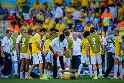 Equipe Brasileira no intervalo da partida entre Brasil x Chile, válida pelas oitavas de final da Copa do Mundo 2014, no Estádio Mineirão, em Belo Horizonte. FOTO: Jefferson Bernardes/ Agência Preview
