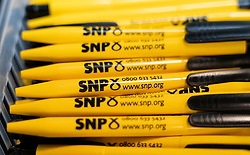 Edinburgh, Scotland, UK. 28 April, 2019. Day 2 of thee SNP ( Scottish National Party) Spring Conference takes place at the EICC ( Edinburgh International Conference Centre) in Edinburgh. Pictured; SNP branded pens for sale at SNP gift shop