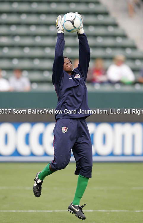 25 August 2007: Briana Scurry. The United States Women's National Team defeated the Women's National Team of Finland 4-0 at the Home Depot Center in Carson, California in an International Friendly soccer match.