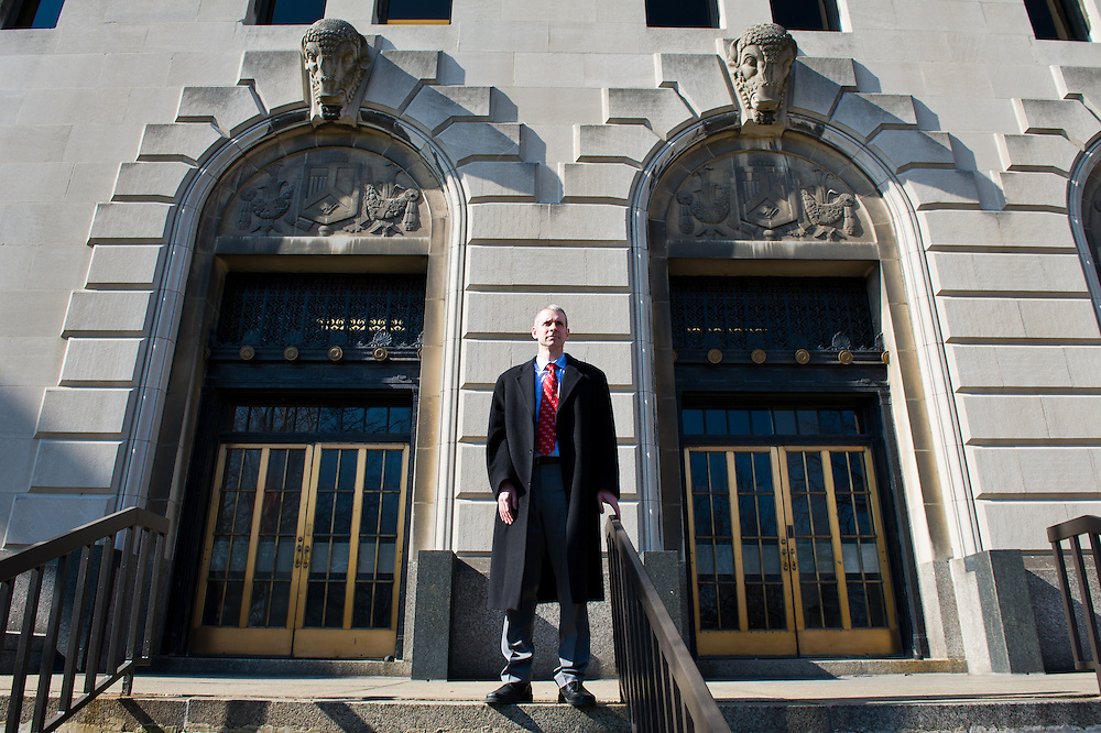 Assistant State's Attorney and playwright James Lynch outside the Honorable George N. Leighton Criminal Court Building
