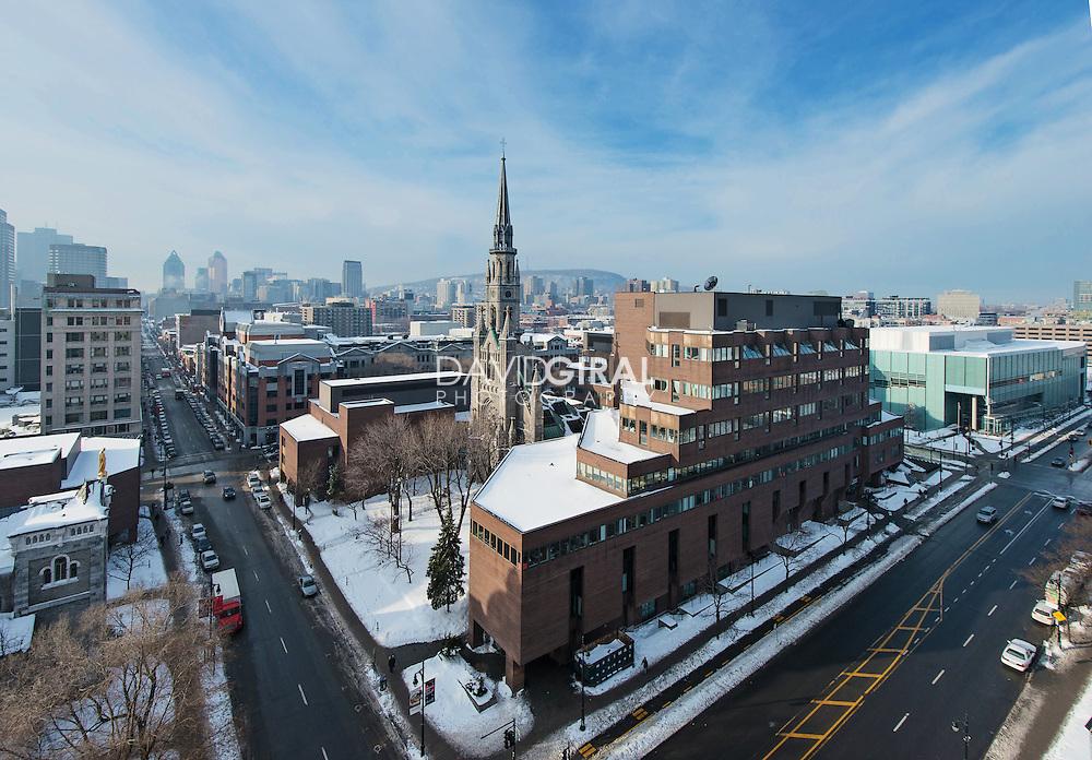 aerial view of UQAM Judith Jasmin building and Sainte Catherine and Berri street, Université du Québec à Montréal, Ville Marie District, Montreal, Quebec, Canada