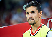 SEVILLE, SPAIN - AUGUST 10:  Jesus Navas looks on during a Pre Season Friendly match between Sevilla FC and AS Roma at Estadio Ramon Sanchez Pizjuan on August 10, 2017 in Seville, Spain.  (Photo by Aitor Alcalde/Getty Images)