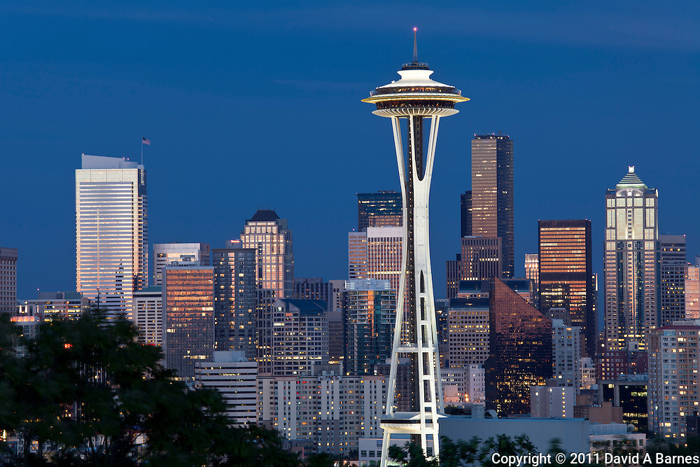 Space Needle. skyline at dusk, Seattle, Washington, USA
