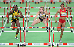 Brianne Theisen Eaton of Canada (C) compets in the Women's Pentathlon 60 metres hurdles during day two of the IAAF World Indoor Championships at Oregon Convention Center in Portland, Oregon, the United States, on March 18, 2016. EXPA Pictures © 2016, PhotoCredit: EXPA/ Photoshot/ Yin Bogu<br /> <br /> *****ATTENTION - for AUT, SLO, CRO, SRB, BIH, MAZ, SUI only*****