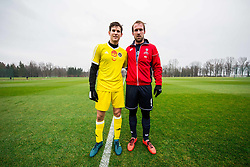 Dominic Thiem of Austria and Grega Zemlja of Slovenia prior to the friendly football match between NK Fantazisti (SLO) and 1st TFC - First Tennis & Football Club (AUT) presented by professional and former tennis players, on November 25, 2017 in Nacionalni nogometni center Brdo pri Kranju, Slovenia. Photo by Vid Ponikvar / Sportida