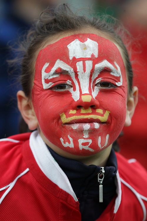 A supporter awiats the start of the Wales versus Fiji Pool D match of the Rugby World Cup 2011, Waikato Stadium, Hamilton, New Zealand, Sunday, October 02, 2011.  Credit:SNPA / David Rowland