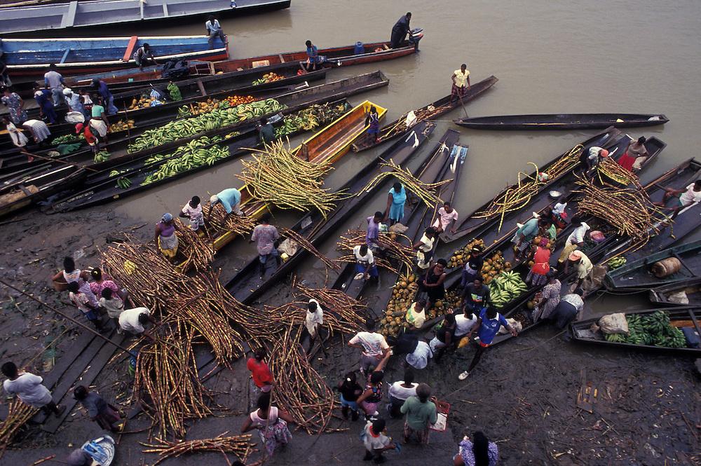 Morning river market in Quibdo, El Choco, Colombia