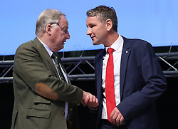 30.06.2018, Messehalle, Augsburg, GER, Bundesparteitag der AFD, im Bild Alexander Gauland und Bjoern Hoecke / Björn Höcke // during the Federal party convention of the AFD at the Messehalle in Augsburg, Germany on 2018/06/30. EXPA Pictures © 2020, PhotoCredit: EXPA/ SM<br /> <br /> *****ATTENTION - OUT of GER*****