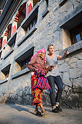 Ruth and Rosa Hollows at Pullarhari Monestry for the outreach micro surgical eye camp held on the outsirks of the Kathmandu Valley 2014. Rosa guides Kamari Gurung 80 from Haibung Village.
