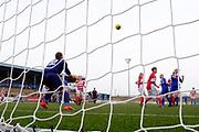 Forfar Farmington's Megan McCarthy loops home a header for the winning goal - Forfar Farmington v Hamilton Academical in the SWPL Premier League One at Station Park, Forfar, <br /> <br /> <br />  - &copy; David Young - www.davidyoungphoto.co.uk - email: davidyoungphoto@gmail.com