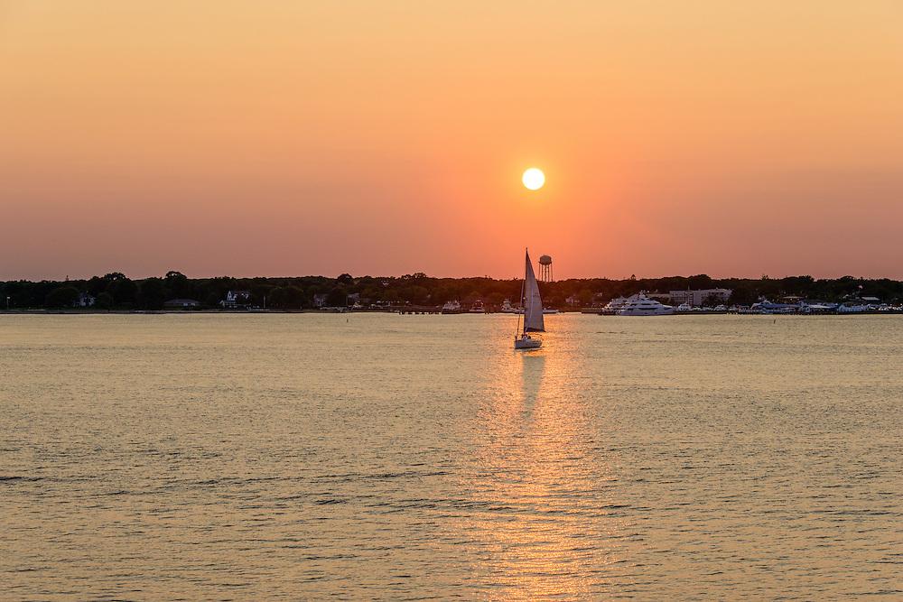Sunset Greenport, Southold, Peconic River,  Long Island, NY