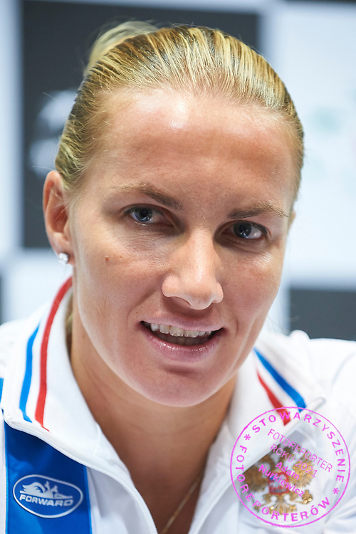 Svetlana Kuznetsova from Russia during official press conference three days before the Fed Cup / World Group 1st round tennis match between Poland and Russia at Krakow Arena on February 4, 2015 in Cracow, Poland<br /> Poland, Cracow, February 4, 2015<br /> <br /> Picture also available in RAW (NEF) or TIFF format on special request.<br /> <br /> For editorial use only. Any commercial or promotional use requires permission.<br /> <br /> Mandatory credit:<br /> Photo by &copy; Adam Nurkiewicz / Mediasport