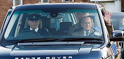 © London News Pictures. 27/12/2011. Papworth Everard, UK.  Prince Philip, Duke of Edinburgh waves as he leaves Papworth Hospital in Papworth Everard, Cambridgeshire on December 27th, 2011 following heart surgery. Photo credit : Ben Cawthra/LNP