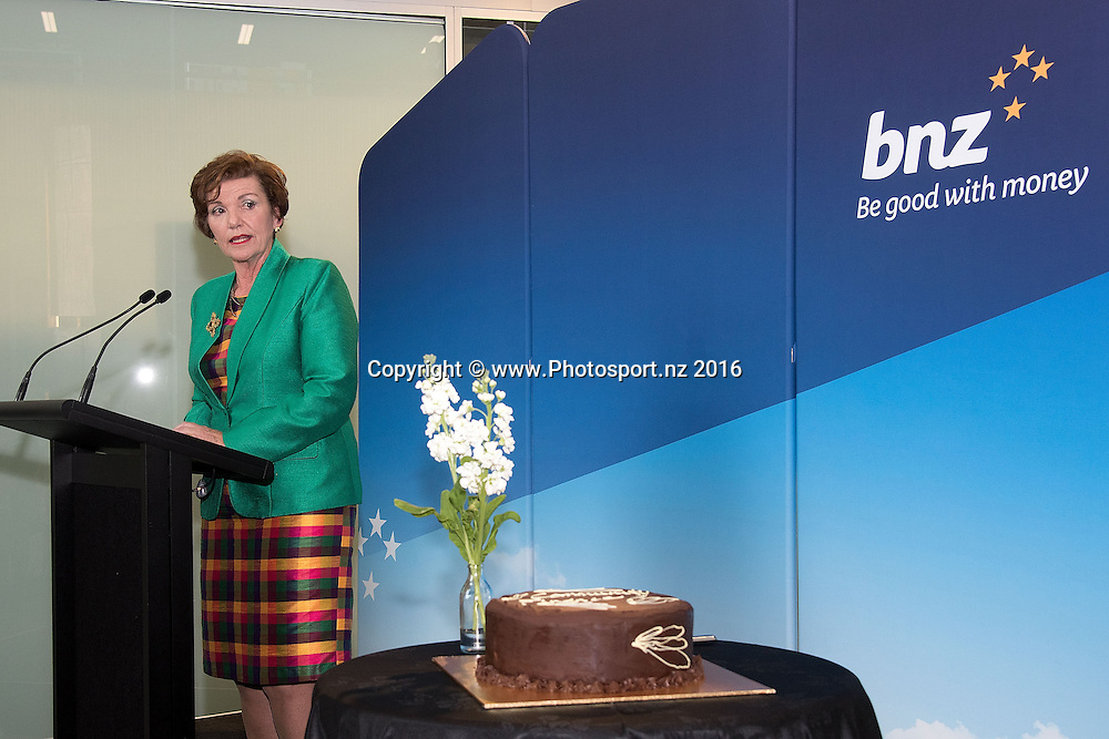 Minister Anne Tolley speaks to guests during the BNZ Community Finance Initiative Announcement at the BNZ building in Wellington on Wednesday the 12th of October 2016. Copyright Photo by Marty Melville / www.Photosport.nz