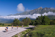 Gran Sasso National Park, Abruzzo, Italy, June 2008. Cyclists climb up to the green plains of Campo Impertore. Photo by Frits Meyst/Adventure4ever.com