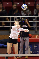 07 November 2014:  Kaitlyn Early serving the ball during an NCAA womens volleyball match between the Loyola Ramblers and the Illinois State Redbirds at Redbird Arena in Normal IL