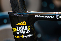 Bianchi Aquila CV of LEEZER Thomas from the Netherlands of Team Lotto NL - Jumbo before the race, stage 2 (ITT) of the 2016 Eneco Tour at Breda, Noord-Brabant, The Netherlands, 20 September 2016. <br /> Photo by Pim Nijland / PelotonPhotos.com | All photos usage must carry mandatory copyright credit (Peloton Photos | Pim Nijland)