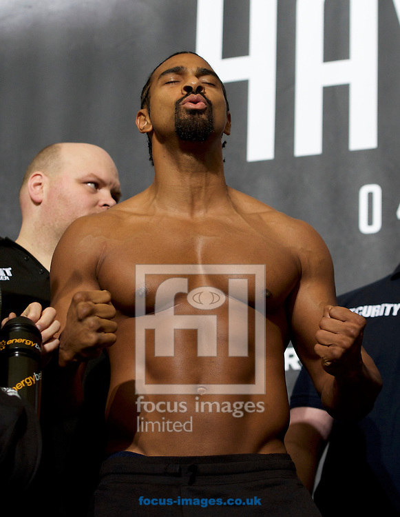 David Haye during the weigh in at the O2 Arena, London ahead of their heavyweight bout.<br /> Picture by Alan Stanford/Focus Images Ltd +44 7915 056117<br /> 03/03/2017