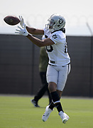 May 28, 2019; Alameda, CA,  USA; Oakland Raiders receiver Saeed Blacknall (80) catches the ball during organized team activities at the Raiders practice facility.