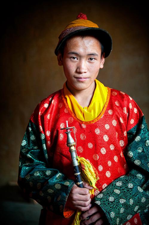 Asia, Tibet, Bhutan, Phobjikha, valley, Gangte, monastery,cham<br /> tsechu,monnk,performer,actor