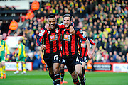 AFC Bournemouth midfielder Junior Stanislas and AFC Bournemouth midfielder Dan Gosling celebrate after Goslings headed goal during the Barclays Premier League match between Bournemouth and Norwich City at the Goldsands Stadium, Bournemouth, England on 16 January 2016. Photo by Graham Hunt.