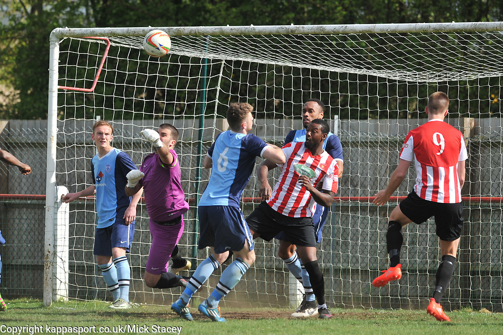 FLEET KEEPER RYAN PRYCE MAKES A GREAT SAVE, Kempston Rovers v Fleet Town, Evostick Southern League Central Saturday 15th April 2017. Score 3-1. Photo:Mike Capps