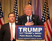 March 1, 2016 - Louisville, Kentucky, U.S. - <br /> <br /> DONALD J. TRUMP speaks at Super Tuesday Press Conference at Mar-A-Lago. Voters went to the polls in 12 states and one U.S. territory to vote on Super Tuesday. Trump tightened his grip on the Republican presidential nomination. <br /> ©Exclusivepix Media