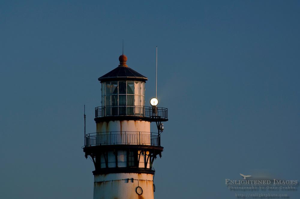 Pigeon Point Lighthouse at dusk, San Mateo County coast, California