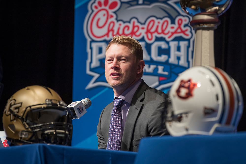 General images during the UCF Knights  and Auburn Tigers coaches news conference, December 30, 2017, in Atlanta. Auburn will face UCF in the Chick-fil-A Peach Bowl on January 1, 2018. (Paul Abell via Abell Images for Chick-fil-A Peach Bowl)