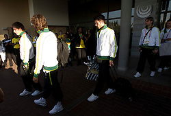 Valter Birsa of Slovenia, Bostjan Cesar of Slovenia at departure of Slovenia National team from Southern Sun Hyde Park Hotel to airport for flight home after the last 2010 FIFA World Cup South Africa Group C  match between Slovenia and England on June 25, 2010 at Southern Sun Hyde Park Hotel, Johannesburg, South Africa. (Photo by Vid Ponikvar / Sportida)