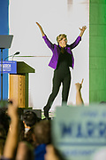 New York, NY – 16 September 2019. Massachusetts Senator and Democratic Presidential candidate Elizabeth Warren drew a large and enthusiastic crowd at a speech for her increasingly popular 2020 presidential campaign in New York's Washington Square. Warren ended her speech, and left the stage for a round of selfies with the crowd.