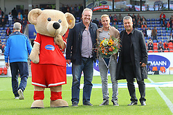 24.09.2014, Voith Arena, Heidenheim, GER, 2. FBL, 1. FC Heidenheim vs 1. FC Nuernberg, 7. Runde, im Bild Paule, Holger Sanwald Geschaeftsfuehrendes Praesidiumsmitglied 1. FC Heidenheim Michael Thurk Klaus Mayer Praesident 1. FC Heidenheim 1846 // during the 2nd German Bundesliga 7th round match between 1. FC Heidenheim and 1. FC Nuernberg at the Voith Arena in Heidenheim, Germany on 2014/09/24. EXPA Pictures © 2014, PhotoCredit: EXPA/ Eibner-Pressefoto/ Langer<br /> <br /> *****ATTENTION - OUT of GER*****