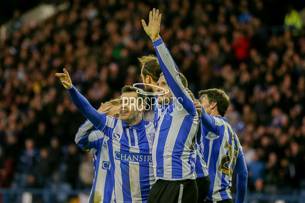 Sheffield Wednesday forward, on loan from Norwich City, Gary Hooper  scores during the Sky Bet Championship match between Sheffield Wednesday and Wolverhampton Wanderers at Hillsborough, Sheffield, England on 20 December 2015. Photo by Simon Davies.