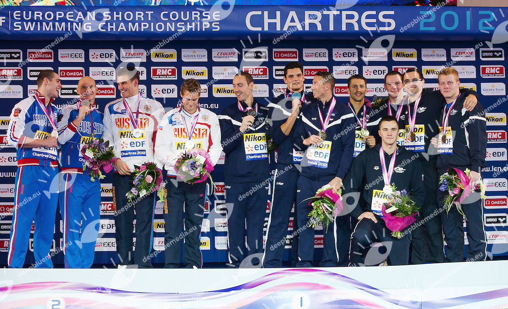 4x50 medley Men podium.Russia, France, Czech Republic.XVI European Short Course Swimming Championships.Chartres - FRA France Nov. 22 -25 2012.Day01.Photo G.Scala/Deepbluemedia/Inside