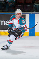 KELOWNA, CANADA - MARCH 4: Dillon Dube #19 of the Kelowna Rockets skates against the Tri-City Americans on March 4, 2017 at Prospera Place in Kelowna, British Columbia, Canada.  (Photo by Marissa Baecker/Shoot the Breeze)  *** Local Caption ***