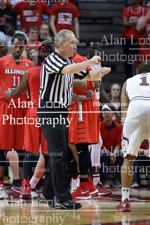 22 February 2017:  Joe DeRosa indicates a traveling violation during a College MVC (Missouri Valley conference) mens basketball game between the Southern Illinois Salukis and Illinois State Redbirds in  Redbird Arena, Normal IL