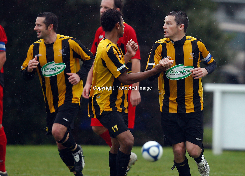 Rovers Liam Mulrooney (right) celebrates scoring from a penalty. Football, Chatham Cup 3rd Round, Glenfield Rovers v Ellerslie AFC, McFetridge Park Glenfield, Saturday 19th June 2010. Photo: Shane Wenzlick/PHOTOSPORT
